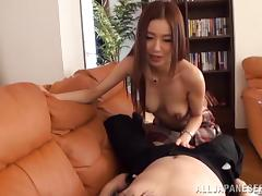 Amazing Asian girlfriend having sex in the living room