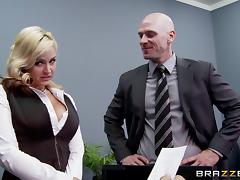 Johnny Sins fucking the shit out of his busty boss in her office