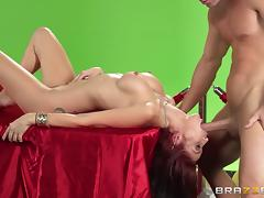 The pretty assistant makes the magician's cock spit jizz from nowhere