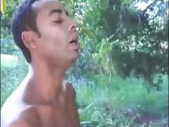 Amateur gays having hot sex in the forest