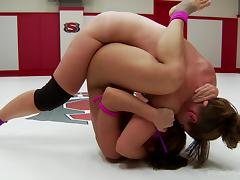 hot ladies fight in the wrestling arena