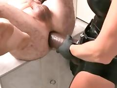 Mistress takes him with a big strapon