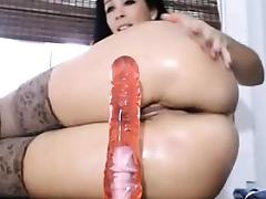 Riding my toy with ass to the camera
