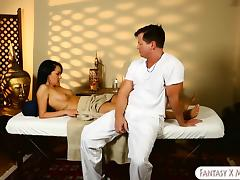 Naughty masseur fucked hot girl Sabrina on massage table