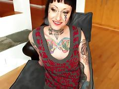Girl with a tattooed face and chest makes him cum in POV sex