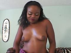 Ebony takes large black cock in mouth and wet pussy