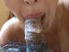 Asian chick shows off her cock sucking prowess