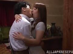 Wild Asian housewife with nice big tits enjoying a hardcore doggy style fuck