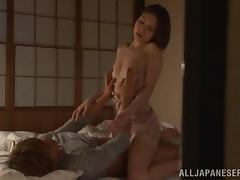 A voyeur video of a Japanese couple fucking on the floor