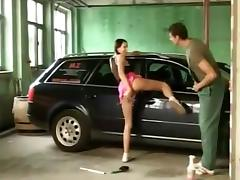 Pigtailed german girl assfucked in the garage