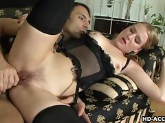 Lingerie wearing seductress gets rough ass fu