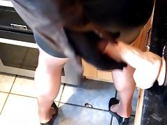 milking big dildo over my leather skirt