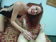 Lovely Redhead girl gives great foot fetish before handjob in POV
