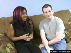 Nerdy black girl fucked by a hairy white guy