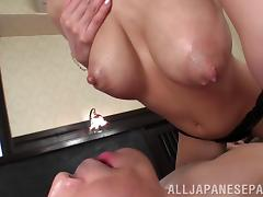 It is heavenly to suck on the big tits of a Japanese beauty
