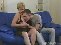 Mature amateur granny gets her coochie drilled by a horny young stud