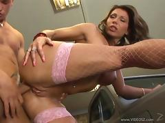 Icy hot milf in sexy fishnet stocking gets screwed hardcore anal
