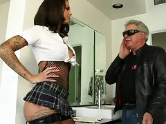 Tattooed porn star with an awesome body enjoying a hardcore cowgirl style fuck