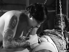 A wild girl fucks Frankenstein and cums on his monster rod