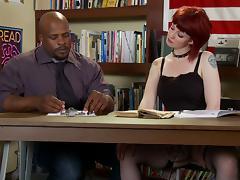 Chubby redhead with big natural tits enjoying a hardcore interracial fuck