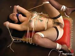 Crazy, kinky bondage and torture action in a master's dungeon