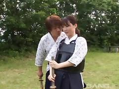 An Asian girl gets combat training then gets fucked hard
