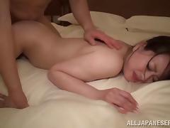 Horny Japanese slut jacks with a vibrator then fucks hard