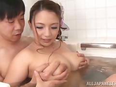 Bathing with a big breasted Japanese girl is lots of fun