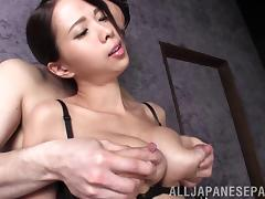 Sweet Japanese babe Ema Kisaki tit fucked with her huge boobs