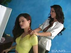 Seductive lesbian bitches masturbate hard in an office