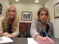 Hardcore interracial threesome with two stunning blondes