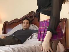 Stunning shemale in black stockings gets her ass pounded hard