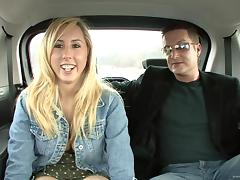 Blonde babe with nice big tits enjoying a hardcore fuck in a car