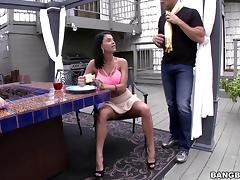 Blindfolded, Big Tits, Blindfolded, Blowjob, Brunette, Close Up