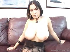 Busty Alisha Naturale gives blowjob on the casting couch