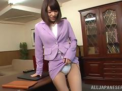 Boss gets a sexy blowjob from his cute Japanese secretary