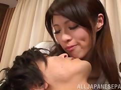 Long haired Asian slut giving a thrilling handjob