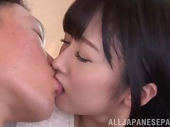 Flirty Asian cutie swallows cum after getting her hairy cunt drilled