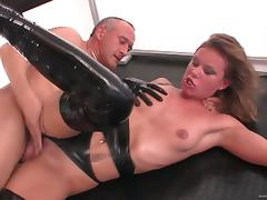 Lucy Love with small tits,in leather gets fingered and violated Hardcore