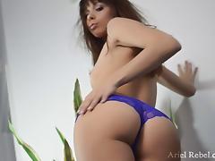 Thong-clad babe with small tits enjoying a hardcore vibrator fuck