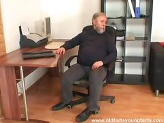 An older, fat guy spanks then fucks his sexy younger girlfriend