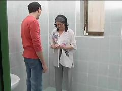 Mature fat grannie gets her muff slamed in the bathroom