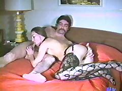 Slut with nice ass in vintage porn sucks and rides hard cock