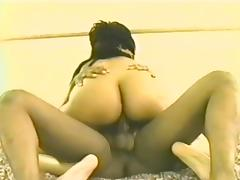 Ebony babe with nice ass,rubs pussy,licked and fucked cowgirl style
