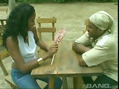 An ebony couple strips down and gets freaky outdoors