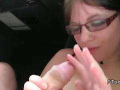 Horny British babe banging in a cab in public
