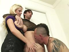 Bi guys blow each other as the busty blonde chick watches