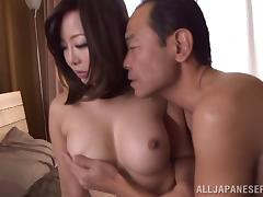 Big fake tits are amazing on a horny Japanese babe