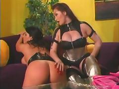 Femdom fetish lesbian gets her big ass spanked red