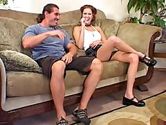 Redhead dame in miniskirt screaming while being smashed hardcore on sofa